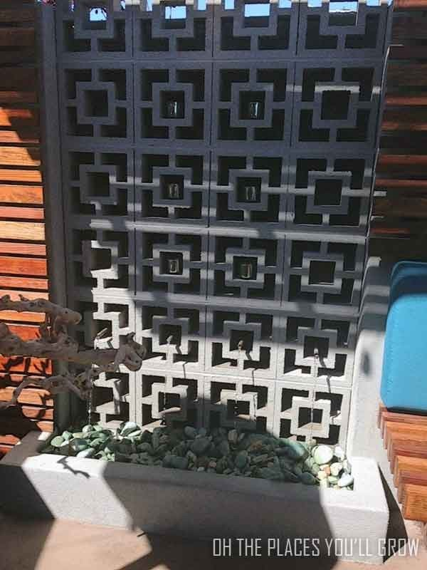 water feature made from 60's style cinder blocks at great maple restaurant