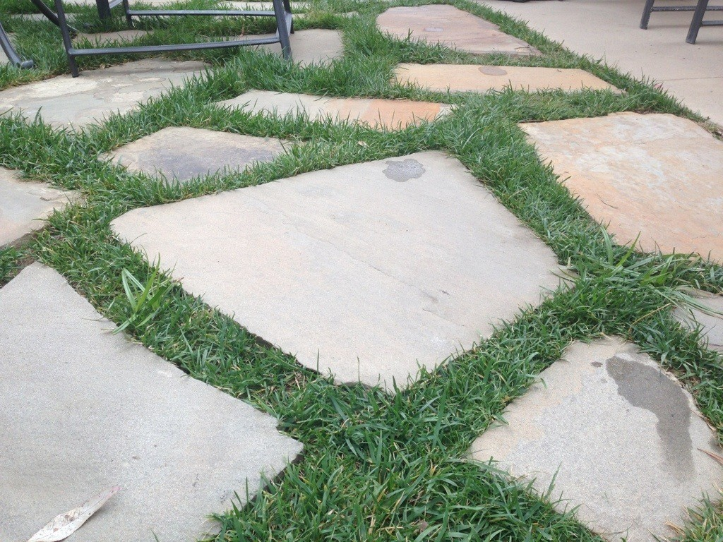 flagstone with lawn