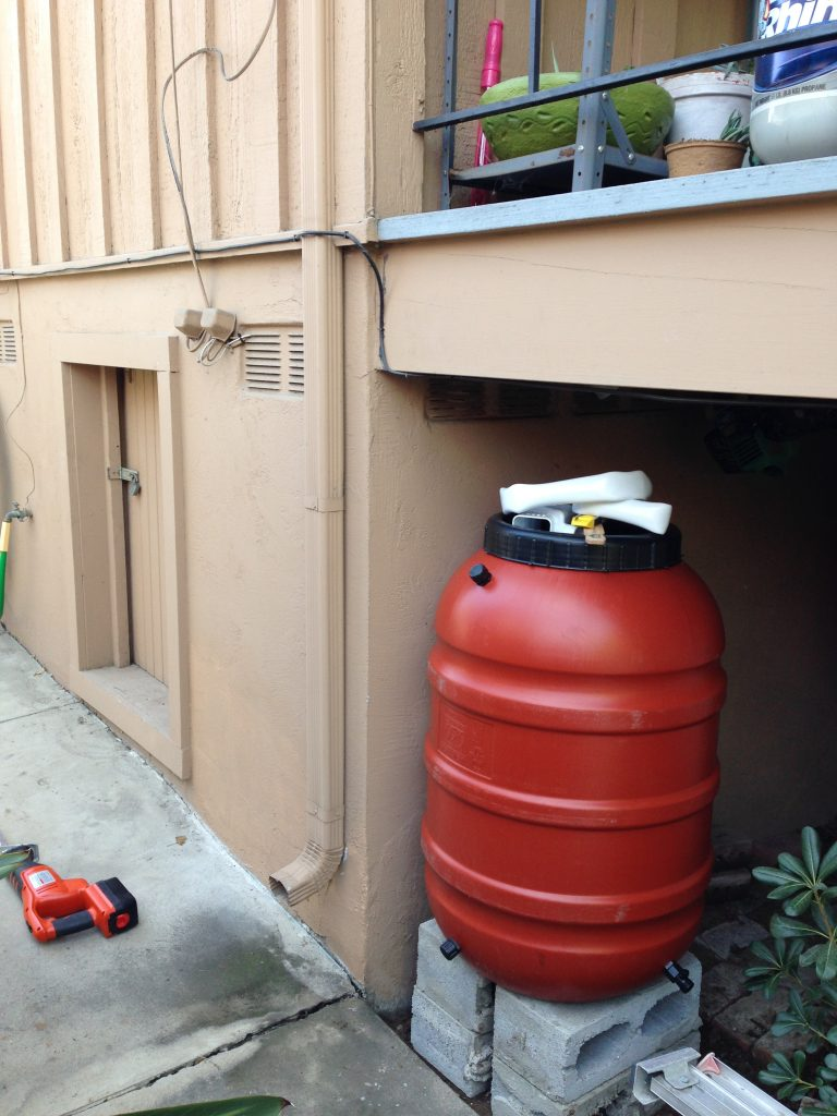 Before setting up the downspout, but after leveling the ground